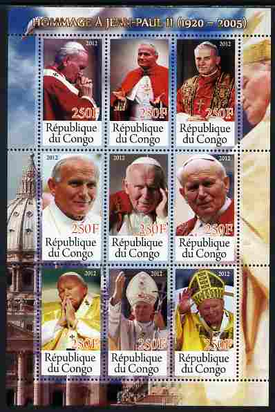 Congo 2012 Pope John Paul II perf sheetlet containing 9 values unmounted mint