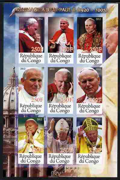 Congo 2012 Pope John Paul II imperf sheetlet containing 9 values unmounted mint