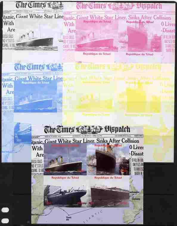 Chad 2011 The Titanic - 100th Anniversary sheetlet containing 4 values - the set of 5 imperf progressive proofs comprising the 4 individual colours plus all 4-colour composite, unmounted mint