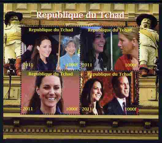 Chad 2011 Royal Visits - Kate & William perf sheetlet containing 4 values unmounted mint. Note this item is privately produced and is offered purely on its thematic appeal.