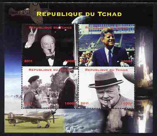 Chad 2011 Churchill & Kennedy perf sheetlet containing 4 values unmounted mint. Note this item is privately produced and is offered purely on its thematic appeal.