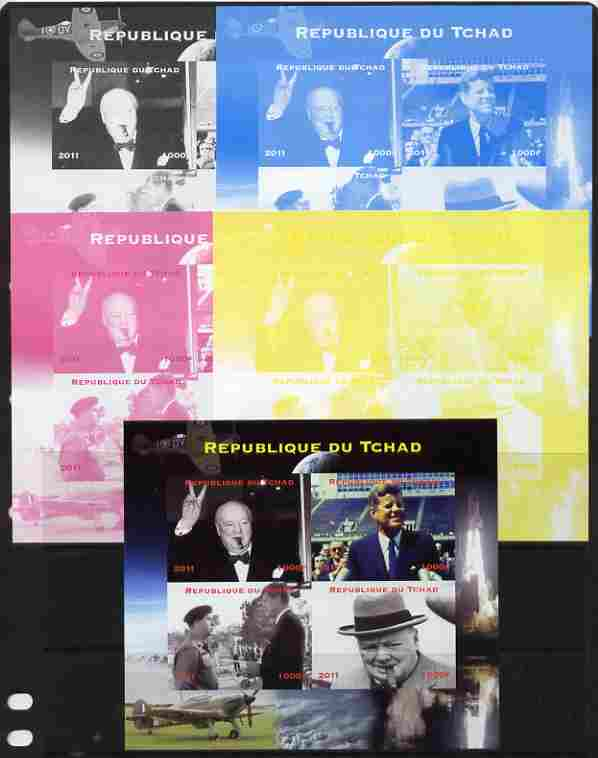 Chad 2011 Churchill & Kennedy sheetlet containing 4 values - the set of 5 imperf progressive proofs comprising the 4 individual colours plus all 4-colour composite, unmou...