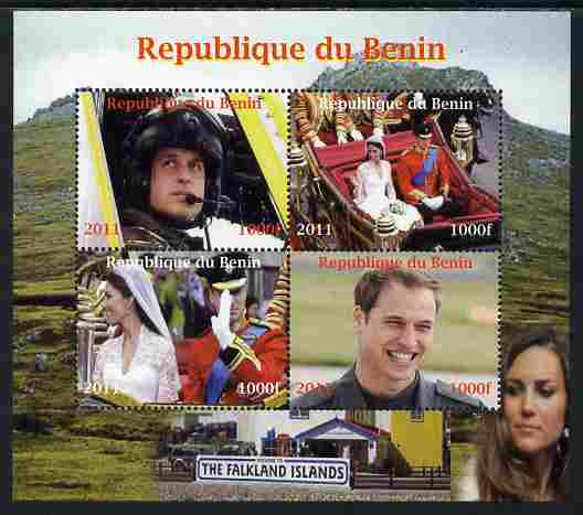 Benin 2011 Royal Visits - William in the Falklands perf sheetlet containing 4 values unmounted mint. Note this item is privately produced and is offered purely on its the...