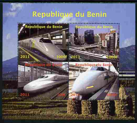 Benin 2011 Japanese High Speed Trains perf sheetlet containing 4 values unmounted mint. Note this item is privately produced and is offered purely on its thematic appeal , stamps on railways