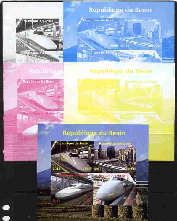 Benin 2011 Japanese High Speed Trains sheetlet containing 4 values - the set of 5 imperf progressive proofs comprising the 4 individual colours plus all 4-colour composite, unmounted mint