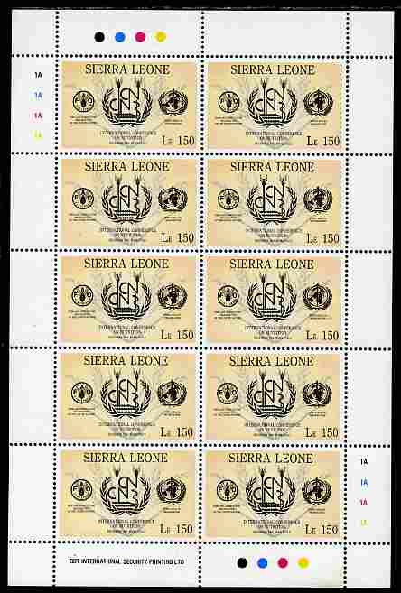 Sierra Leone 1992 Anniversaries & Events - International Conference on Nutrition 150L in complete perf sheetlet of 10 unmounted mint SG 1943