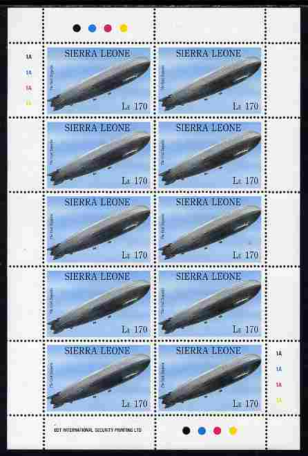 Sierra Leone 1992 Anniversaries & Events - Graf Zeppelin 170L in complete perf sheetlet of 10 unmounted mint SG 1945