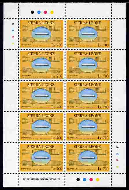 Sierra Leone 1992 Anniversaries & Events - Graf Zeppelin 700L in complete perf sheetlet of 10 unmounted mint SG 1953