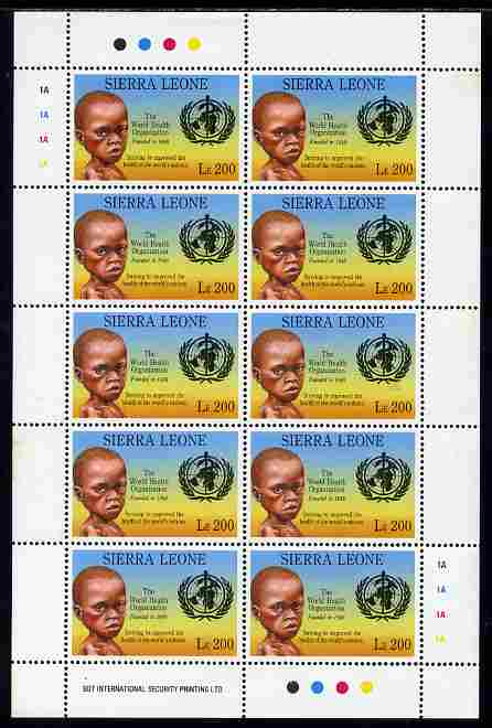 Sierra Leone 1992 Anniversaries & Events - World Health Organisation 200L in complete perf sheetlet of 10 unmounted mint SG 1946