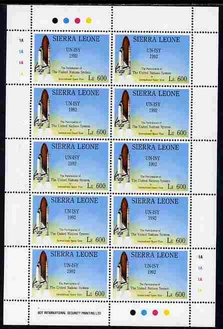 Sierra Leone 1992 Anniversaries & Events - UN International Space Year - Space Shuttle 600L in complete perf sheetlet of 10 unmounted mint SG 1952