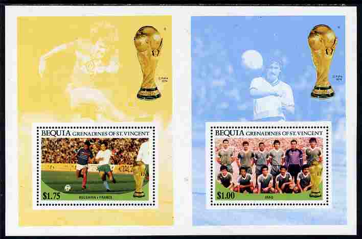 St Vincent - Bequia 1986 World Cup Football the $1 (Iraq Team) and $1.75 (Bulgaria v France) perf m/sheets in unissued uncut format, unmounted mint and rare having originated from the small stock of archive sheets produced by Format International