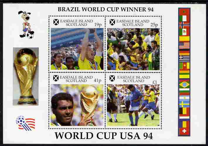 Easdale 1994 Football World Cup - Brazil Winners perf sheetlet containing 4 values, unmounted mint