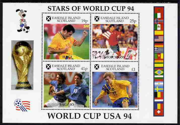 Easdale 1994 Football World Cup - Stars of the World Cup perf sheetlet containing 4 values, unmounted mint
