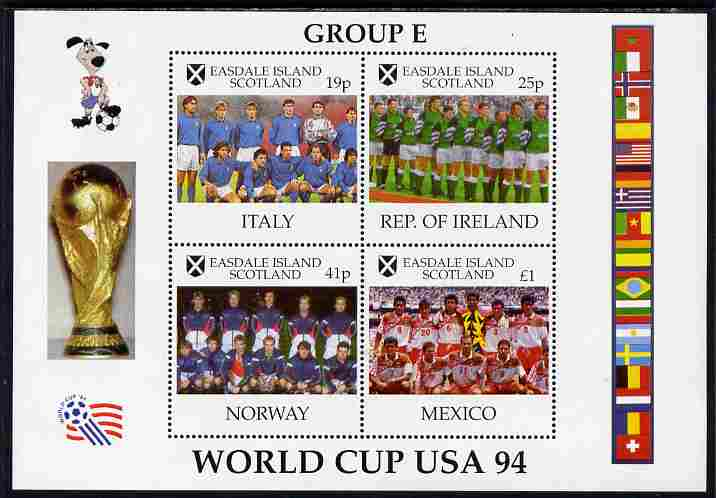 Easdale 1994 Football World Cup - Group E Countries perf sheetlet containing 4 values, unmounted mint