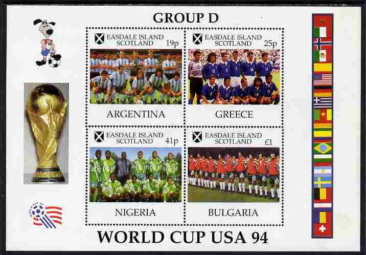 Easdale 1994 Football World Cup - Group D Countries perf sheetlet containing 4 values, unmounted mint