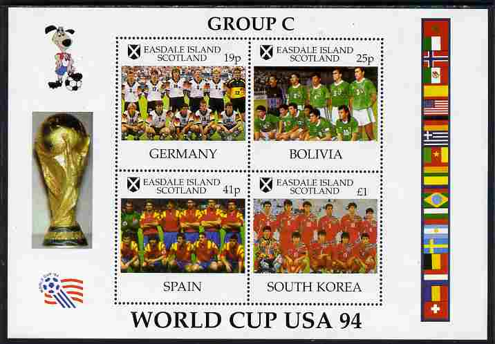 Easdale 1994 Football World Cup - Group C Countries perf sheetlet containing 4 values, unmounted mint