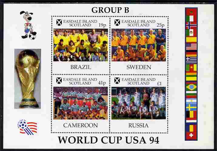 Easdale 1994 Football World Cup - Group B Countries perf sheetlet containing 4 values, unmounted mint