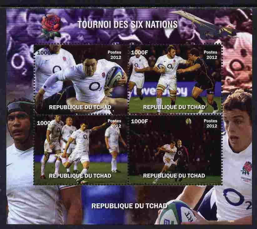 Chad 2012 Rugby Six Nations Tournament #2 perf sheetlet containing 4 values, unmounted mint. Note this item is privately produced and is offered purely on its thematic appeal.