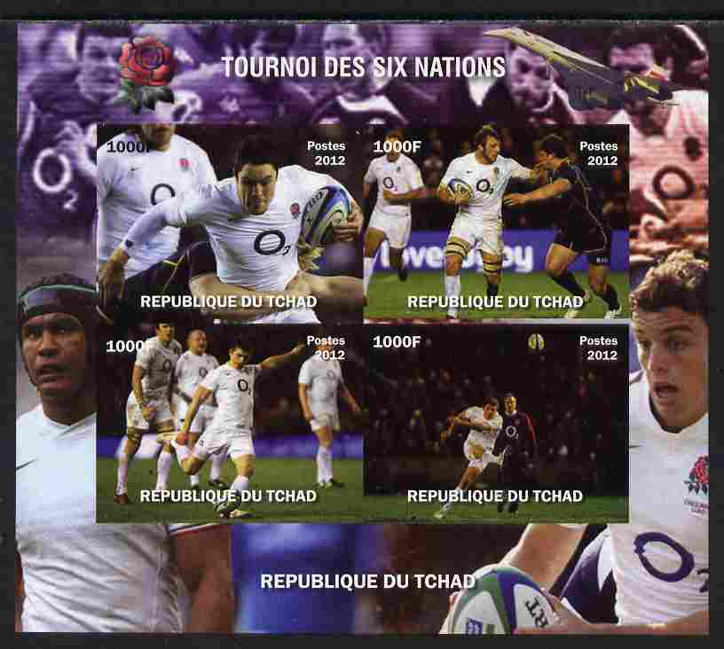 Chad 2012 Rugby Six Nations Tournament #21 imperf sheetlet containing 4 values, unmounted mint. Note this item is privately produced and is offered purely on its thematic appeal.
