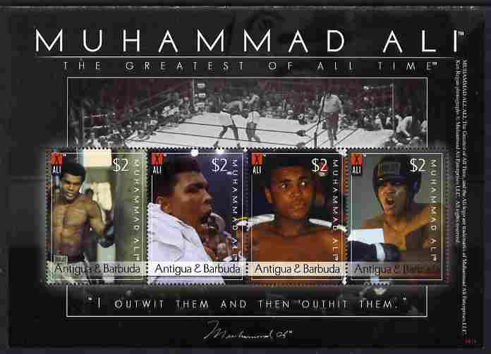 Antigua 2008 Muhammad Ali commemoration perf sheetlet of 4 x $2 unmounted mint, SG 4220-23