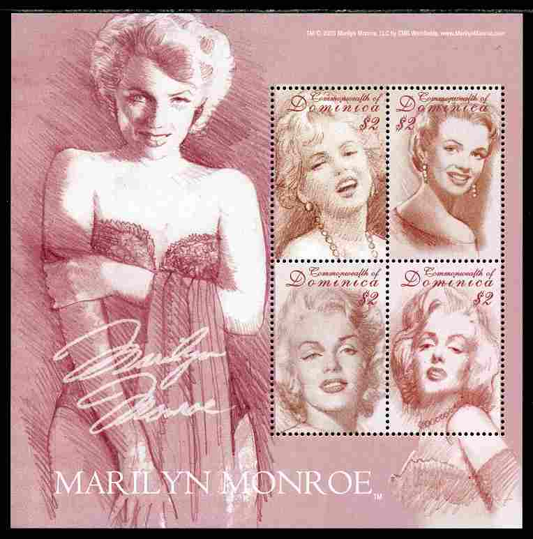Dominica 2004 Marilyn Monroe commemoration perf sheetlet of 4 x $2 unmounted mint, SG MS3401