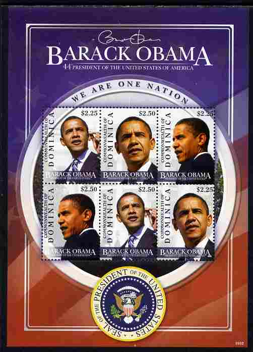Dominica 2009 Inauguration of Pres Barack Obama perf sheetlet of 6 unmounted mint, SG MS3634
