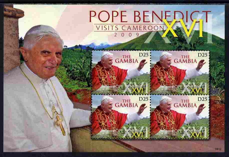 Gambia 2009 Pope Benedict XVI Visits Cameroun perf sheetlet of 4 unmounted mint