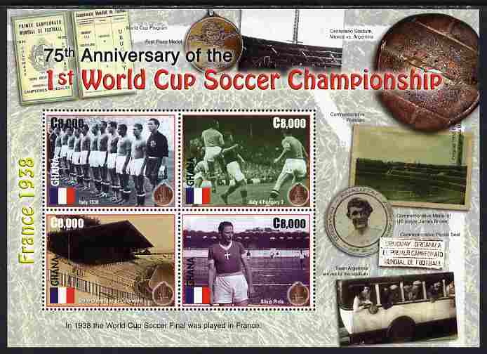 Ghana 2006 75th Anniv of 1st Football World Cup perf sheetlet of 4 unmounted mint, SG 3529a