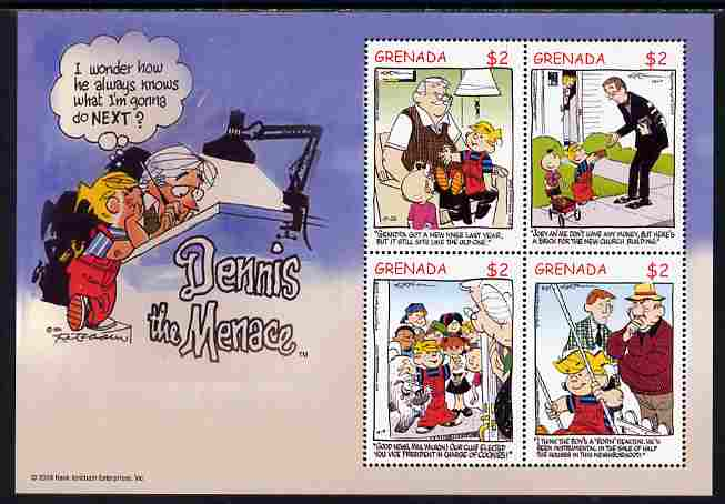 Grenada 2005 Dennis the Menace (American cartoon character created by Hank Ketcham) perf sheetlet of 4 unmounted mint, SG 5089a