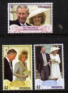 Grenada 2005 Royal Wedding (Charles & Camilla) set of 3 unmounted mint, SG 5113-15
