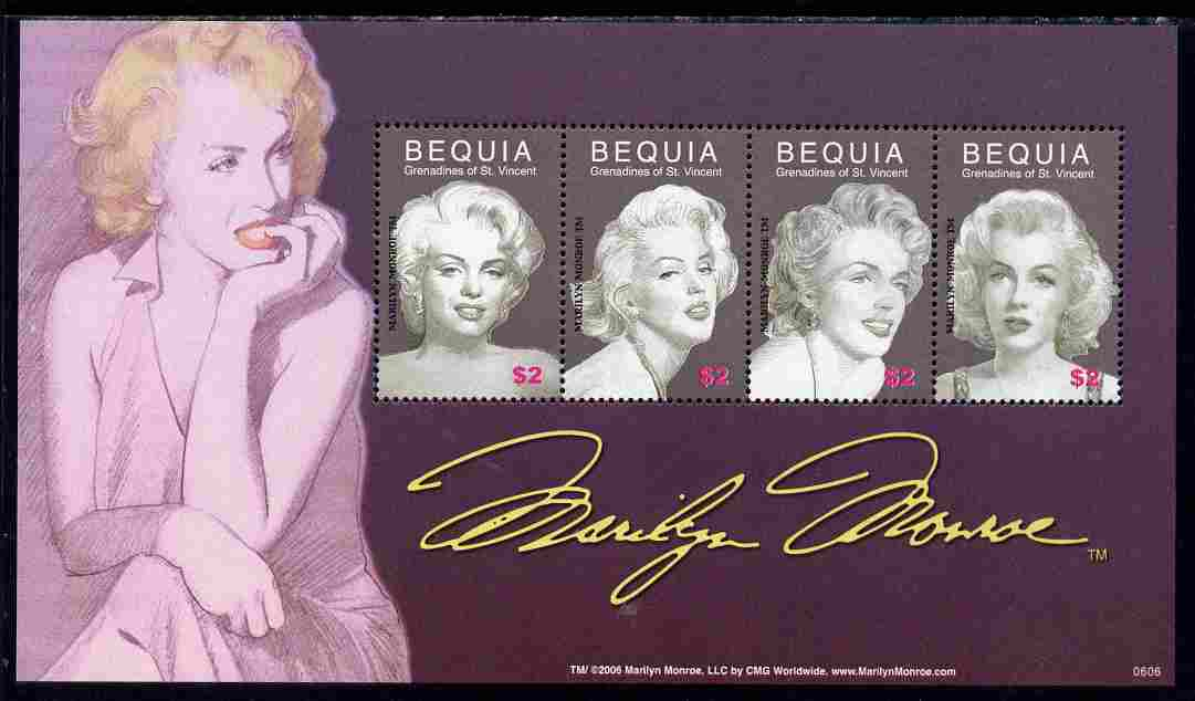 St Vincent - Bequia 2006 80th Birth Anniv of Marilyn Monroe perf sheetlet of 4 unmounted mint