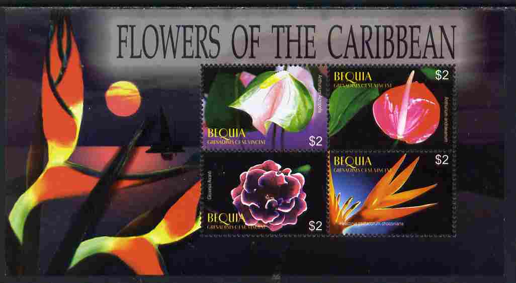 St Vincent - Bequia 2005 Flowers of the Caribbean perf sheetlet of 4 unmounted mint