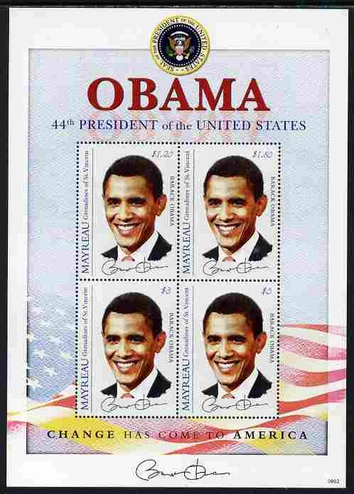 St Vincent - Myreau 2009 Inauguration of Pres Barack Obama perf sheetlet of 4 unmounted mint