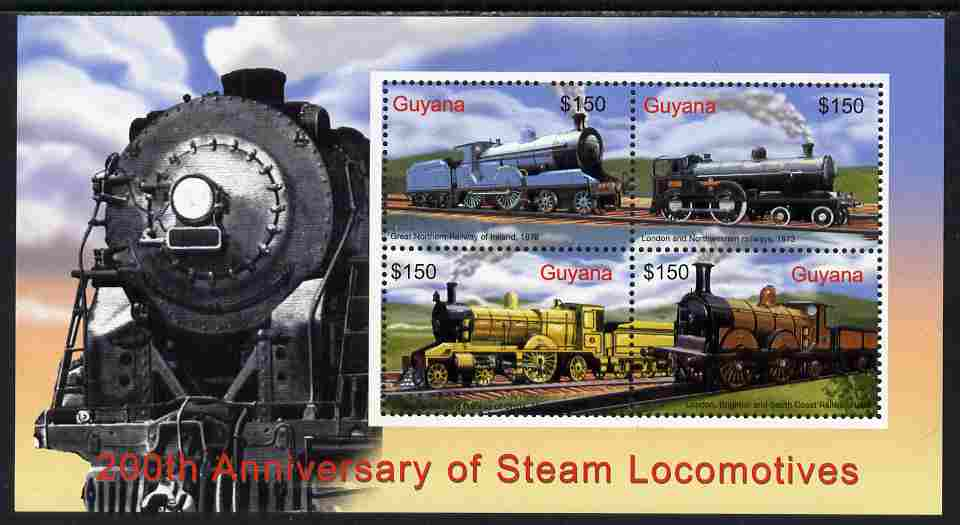 Guyana 2004 Bicentenary of Steam Locomotives perf sheetlet of 4 (Great Northern Railway, Ireland etc) unmounted mint SG MS6486c