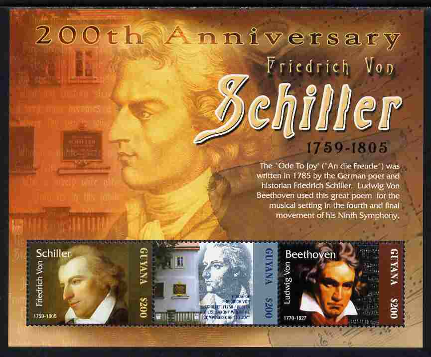 Guyana 2005 Death Bicentenary of Friedrich von Schiller perf sheetlet of 3 unmounted mint SG 6523a