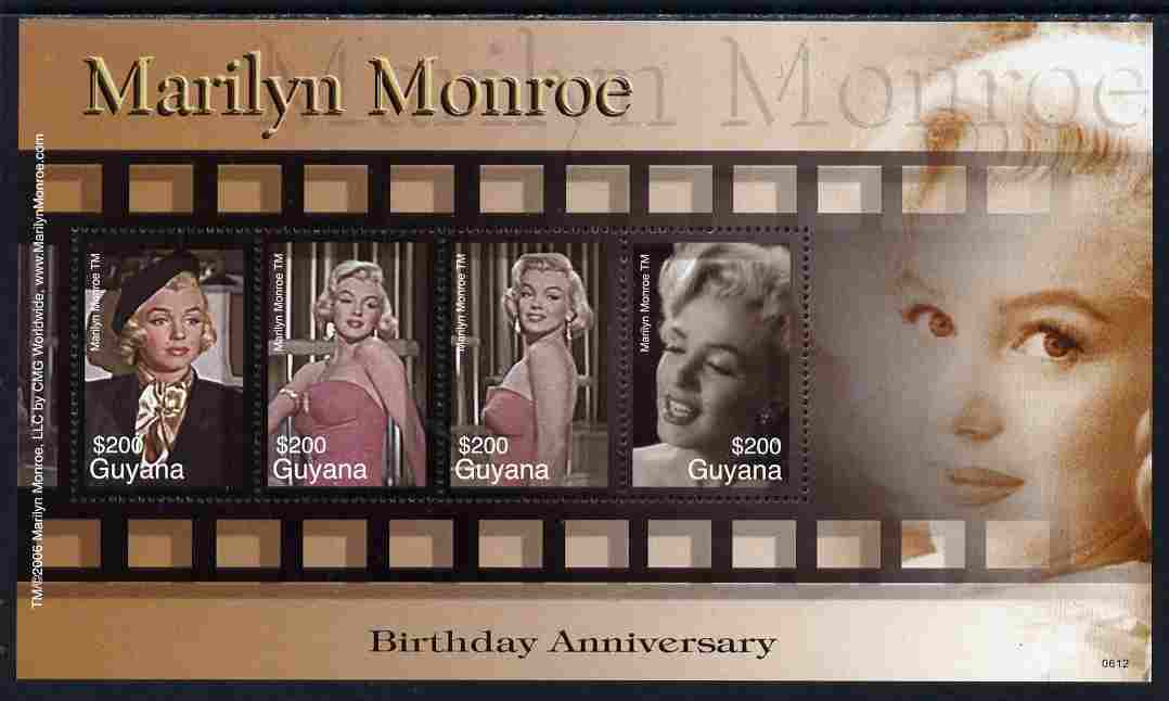 Guyana 2007 80th Birth Anniv of Marilyn Monroe perf sheetlet of 4 unmounted mint SG 6588a