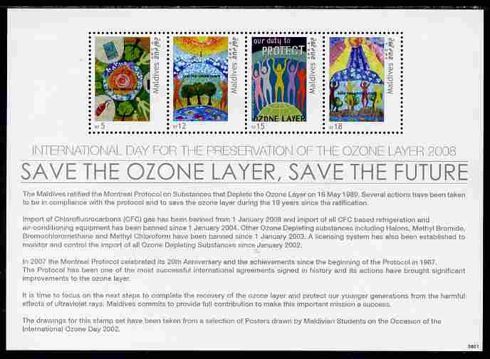 Maldive Islands 2008 International Day for the Preservation of the Ozone Layer perf sheetlet of 4  unmounted mint, SG MS4175