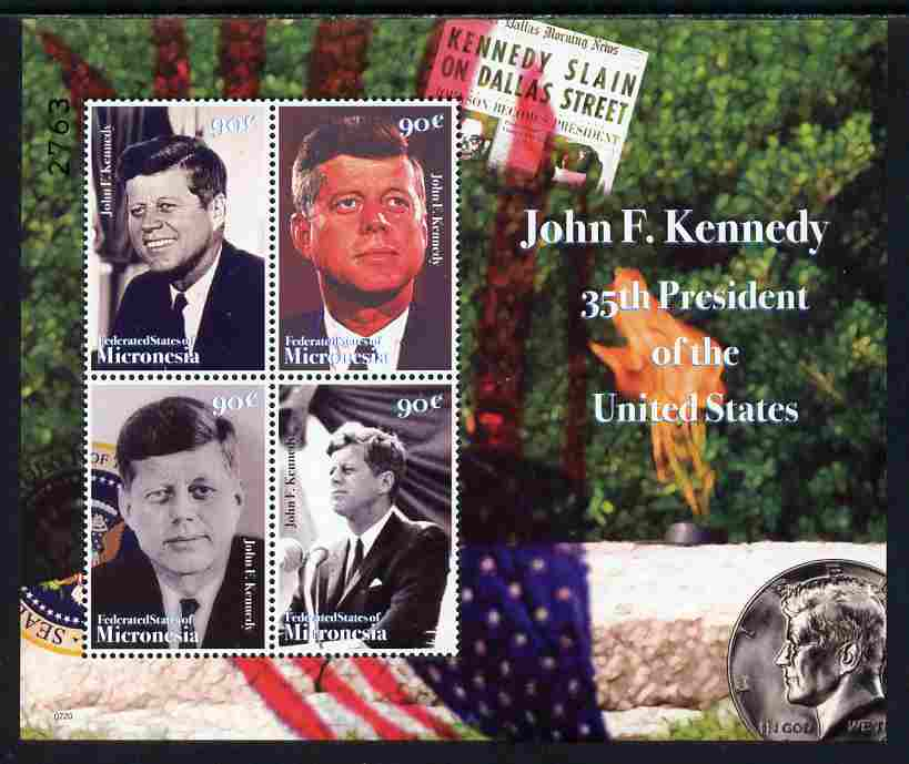 Micronesia 2008 John F Kennedy commemoration perf sheetlet of 4 unmounted mint, SG 1487a