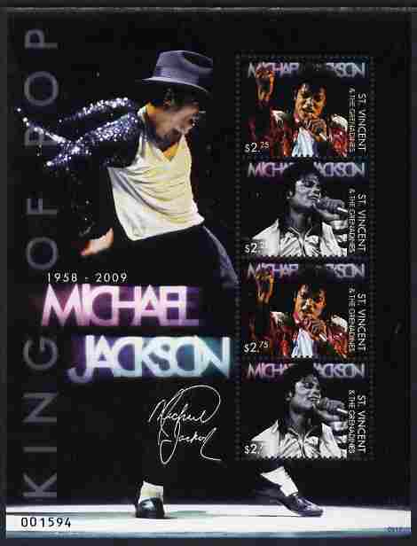 St Vincent 2009 Michael Jackson death commemoration perf sheetlet of 4 (2 x $2.25; 2 x $2.75) unmounted mint
