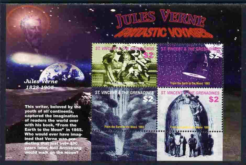 St Vincent 2005 Death Centenary of Jules Verne perf sheetlet of 4 (From Earth to the Moon) unmounted mint, SG5483a