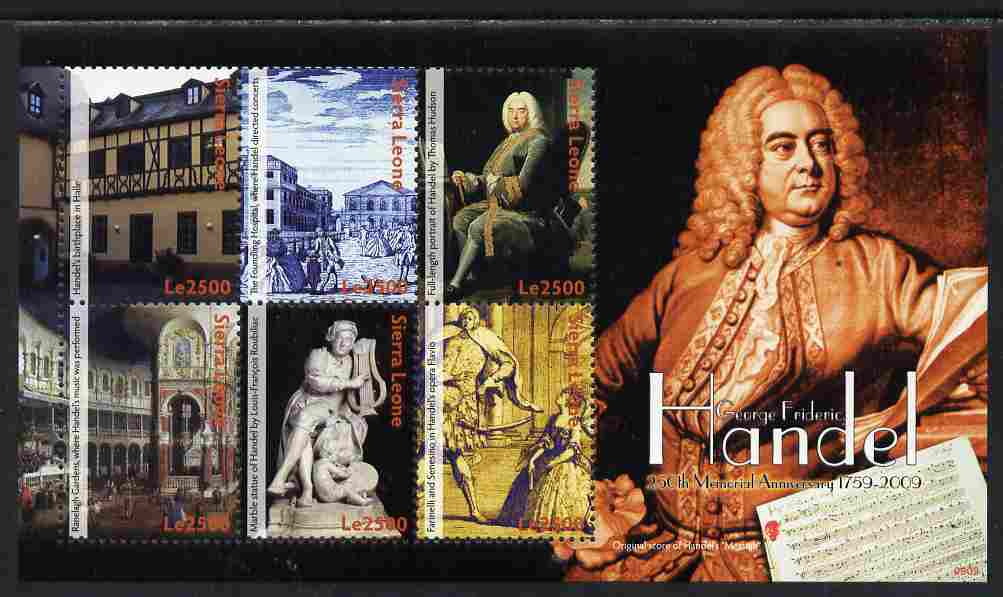 Sierra Leone 2009 250th Death Anniv of George Frideric Handel perf sheetlet of 6 unmounted mint