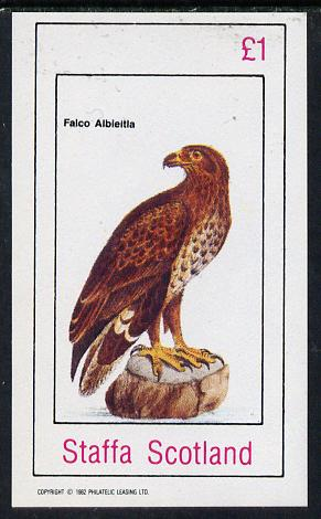 Bernera 1982 Birds #44 (Falcon) imperf souvenir sheet (�1 value)unmounted mint, stamps on birds, stamps on falcons, stamps on birds of prey