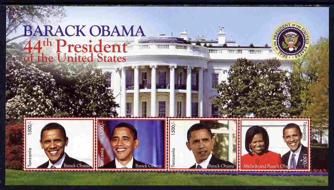 Tanzania 2009 Inauguration of Pres Barack Obama perf sheetlet of 4 unmounted mint