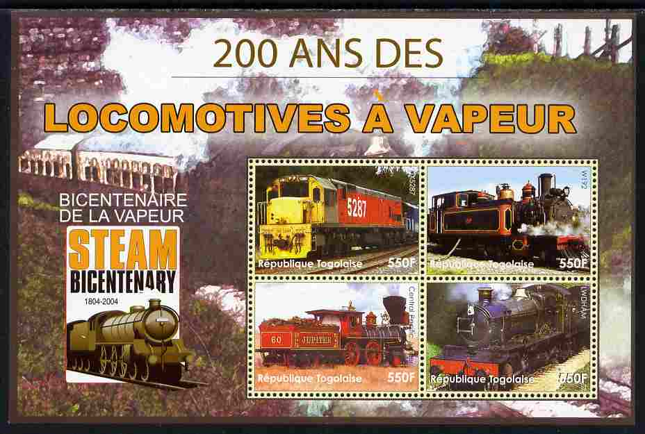 Togo 2004 Bicentenary of Steam Locomotives perf sheetlet of 4 unmounted mint. Note this item is privately produced and is offered purely on its thematic appeal