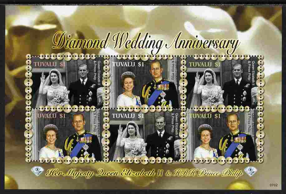 Tuvalu 2007 Diamond Wedding Anniv of Queen Elizabeth II & Duke of Edinburgh perf sheetlet of 6 unmounted mint, SG 1240a