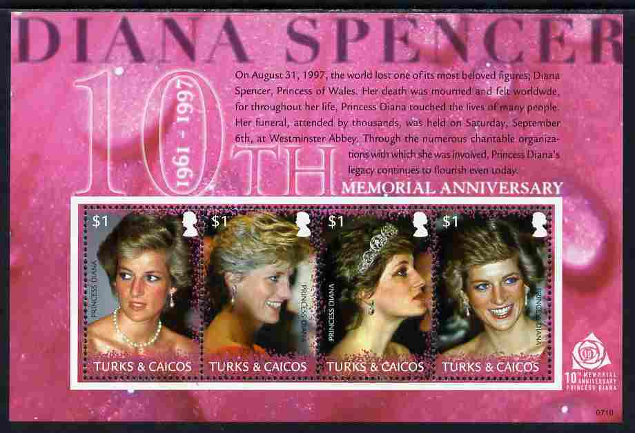 Turks & Caicos Islands 2007 10th Death Anniv of Diana, Princess of Wales perf sheetlet of 4 unmounted mint, SG 1882a