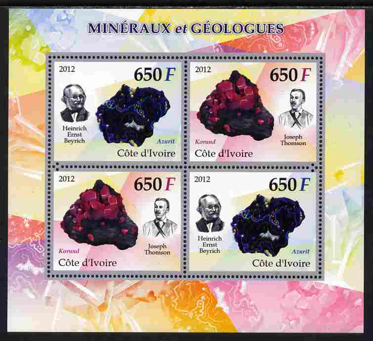 Ivory Coast 2012 Minerals & Geologists perf sheetlet containing 4 values unmounted mint