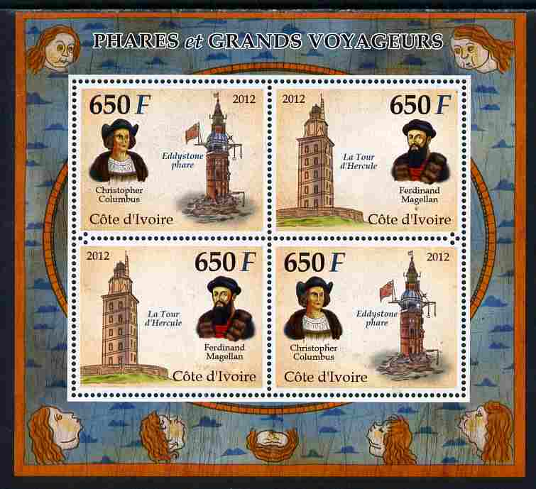 Ivory Coast 2012 Lighthouses & Explorers perf sheetlet containing 4 values unmounted mint