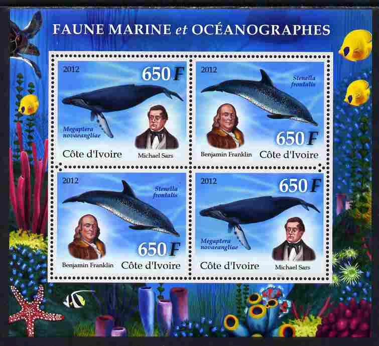 Ivory Coast 2012 Marine Mammals perf sheetlet containing 4 values unmounted mint