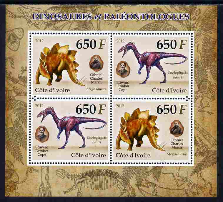 Ivory Coast 2012 Dinosaurs & Paleontologists perf sheetlet containing 4 values unmounted mint